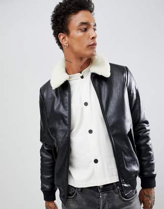 Asos DESIGN Faux Leather Bomber Jacket With Faux Shearling Collar