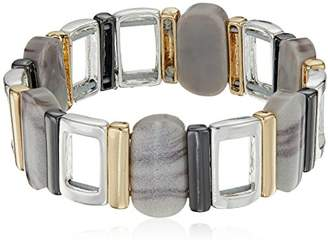 Nine West Women's Tri-Tone and Stretch Bracelet