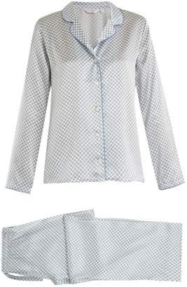 Derek Rose Brindisi 14 geometric-print silk-satin pyjama set