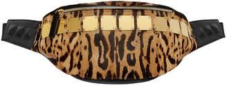 MCM Stark Medium Brass-Plate Leopard Belt Bag
