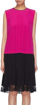 Marc Jacobs Contrast back colourblock pleated Chantilly lace hem dress
