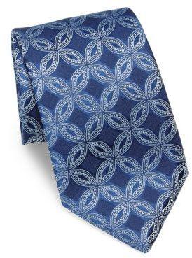 CharvetCharvet Circle Embroidered Silk Tie