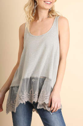 Umgee USA Ribbed Tank Lace-Trim