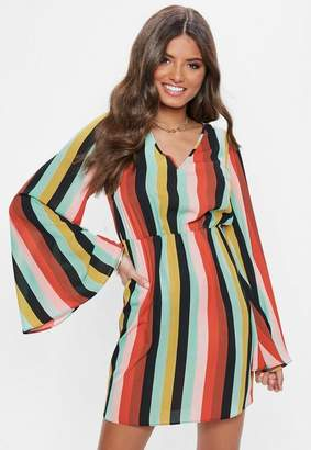 Missguided Red Stripe Plunge Kimono Sleeve Mini Dress