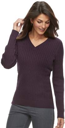 Croft & Barrow Women's Essential Cable Knit V-Neck Sweater
