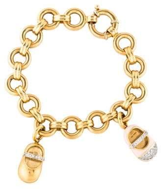 Aaron Basha 18K Diamond Baby Shoe Charm Bracelet
