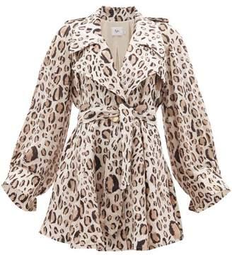 Loren Aje Leopard Print Linen Blend Mini Dress - Womens - Animal