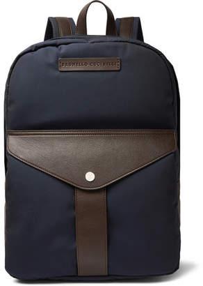 Brunello Cucinelli Full-Grain Leather And Nylon Backpack