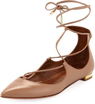Aquazzura Christy Lace-Up Leather Ballet Flats