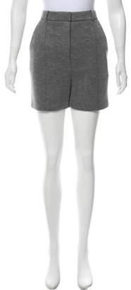 Alexander Wang Leather-Trimmed Mélange Shorts w/ Tags Grey Leather-Trimmed Mélange Shorts w/ Tags