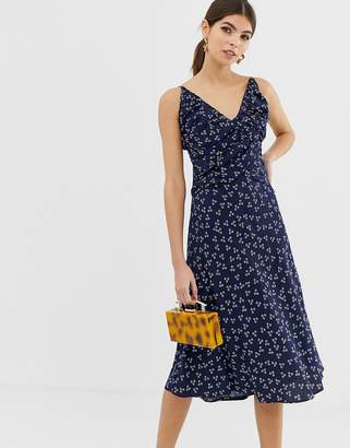 Finders Keepers strappy midi dress in ditsy print