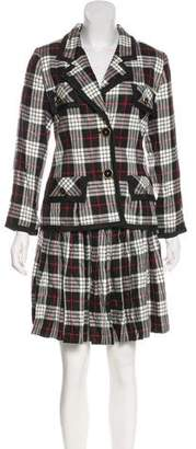 Oscar de la Renta Plaid Skirt Suit