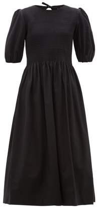 Molly Goddard Rory Shirred Cotton Midi Dress - Womens - Black