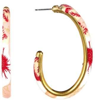 Lucky Brand Floral Print 55mm Hoop Earrings