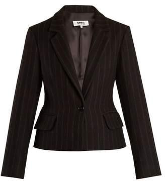MM6 MAISON MARGIELA Detachable Hem Striped Wool Blend Coat - Womens - Black