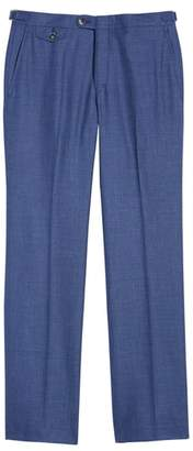 Hickey Freeman B Fit Flat Front Solid Wool Blend Trousers