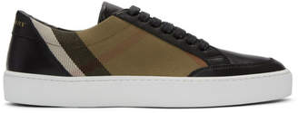 Burberry Beige and Black Check Sneakers