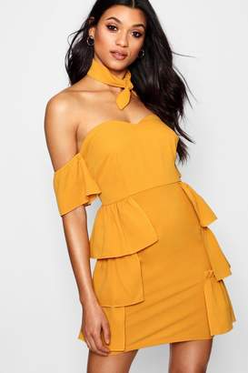 boohoo Off The Shoulder Ruffle Detail Mini Dress