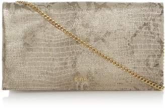 Biba Foldover Chain Strap Leather Clutch