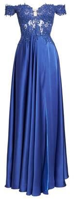 La Femme Embroidered Off the Shoulder Satin A-Line Gown