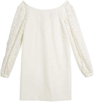 Milly Shawna Lace-Sleeve Tie-Back Shift Dress, Size 7-16
