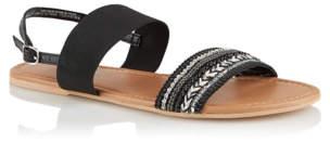 Bell George Black Leather Embellished Sandals