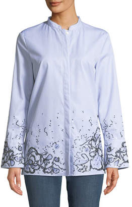 Escada Sport Striped Button-Down Cotton Shirt w/ Sequin Embellishment