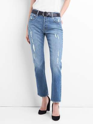 Gap Cone Denim® Super High Rise Straight Jeans with Distressed Detail