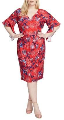 Rachel Roy Ruffle Sleeve Floral Sheath Dress
