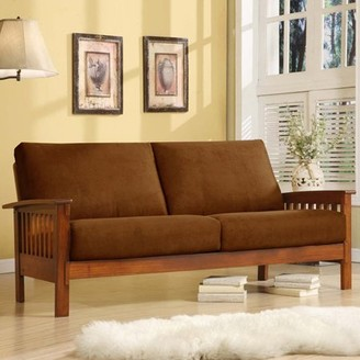 Weston Home Mission Oak Microfiber Sofa, Rust