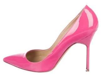42e754a4ac8df Manolo Blahnik Pink Leather Pumps - ShopStyle