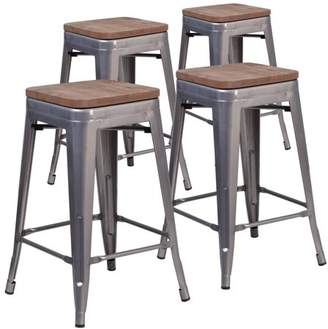 "clear Flash Furniture 4 Pk. 24"" High Backless Coated Metal Counter Height Stool with Square Wood Seat"