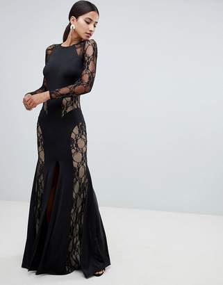 Forever Unique Lace Paneled Maxi Dress