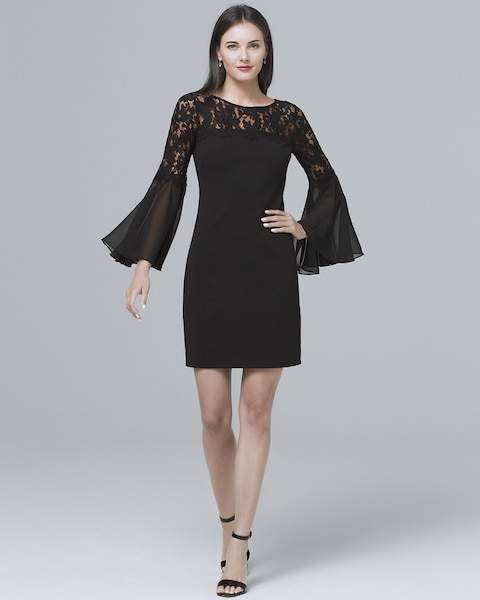 Whbm Lace-Yoke Black Sheath Dress