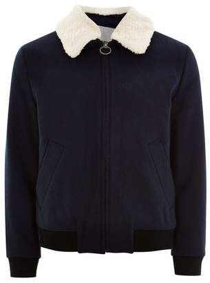 Topman Mens SELECTED HOMME Navy Zip Up Check Borg Collar Jacket