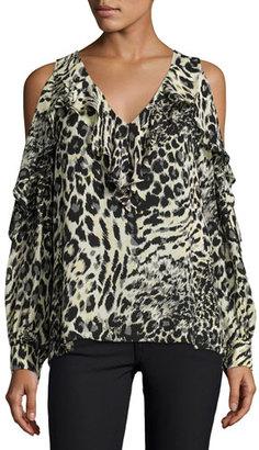 Parker Roland Cold-Shoulder Ruffle Blouse, Lynx $220 thestylecure.com