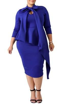 b020f9b2369 SEBOWEL Women s Plus Size Long Sleeve Tie Neck Bodycon Peplum Pencil Midi  Dress