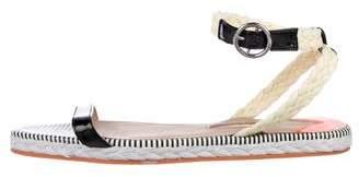 Sophia Webster Patent Leather Raffia-Trimmed Sandals