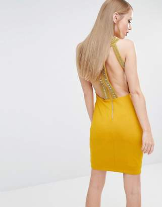TFNC High Neck Bodycon Mini Dress with Gold Embellishment