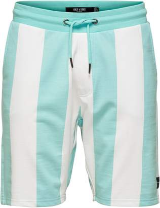 ONLY & SONS Striped Cotton Blend Sweat Shorts