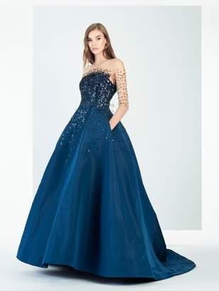 Oscar de la Renta Paillette-Embroidered Illusion Tulle and Silk-Faille Gown