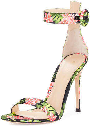 Gianvito Rossi Floral-Print Ankle-Strap Sandals, Red