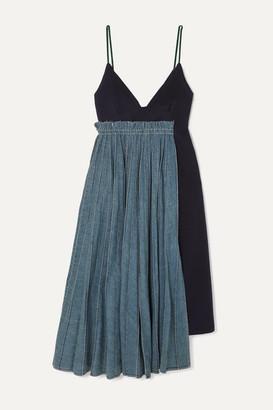 Sacai Frayed Pleated Denim And Wool-felt Midi Dress - Blue