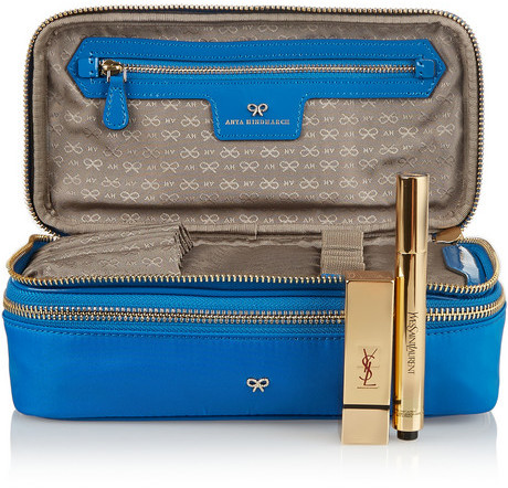 Anya Hindmarch Make-Up patent leather-trimmed cosmetic case