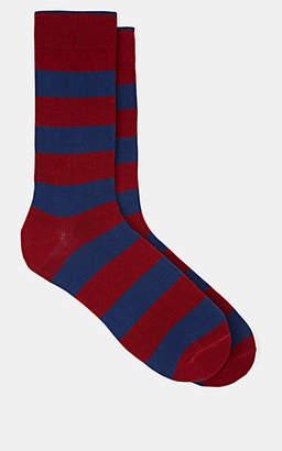 Barneys New York Men's Striped Cotton-Blend Mid-Calf Socks - Red