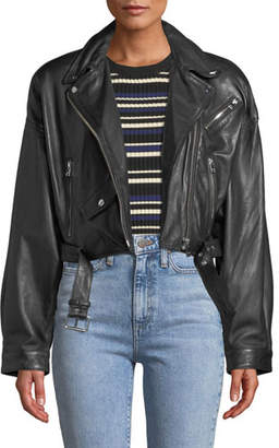 LaMarque Dylan Dropped-Shoulder Cropped Leather Biker Jacket