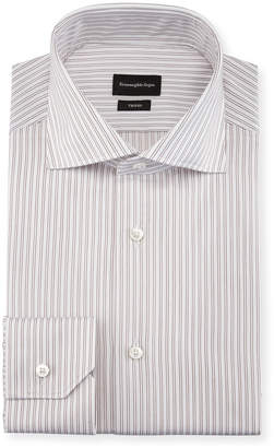 Ermenegildo Zegna Twin-Stripe Cotton Dress Shirt, White/Burgundy