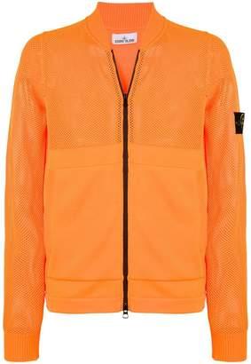 Stone Island logo patch zipped sweatshirt