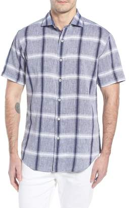 Bugatchi Shaped Fit Check Linen & Cotton Sport Shirt