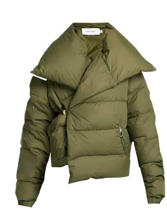 Marques Almeida Marques'almeida - Asymmetric Quilted Down Coat - Womens - Khaki